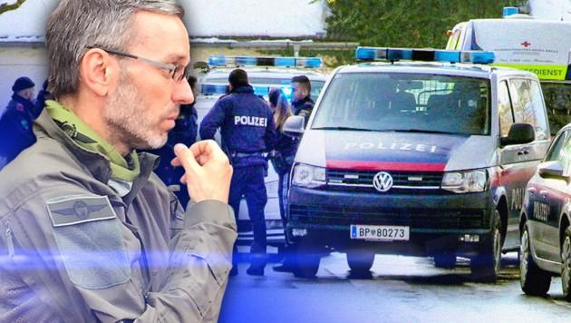 Innenminister Herbert Kickl (FPÖ) will härter gegen mutmaßliche Gefährder vorgehen. (Bild: APA/Maurice_Shourot, zVg, krone.at-Grafik)