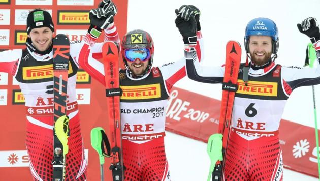 Mit einem Dreifachsieg im Slalom erlösen Österreichs Herren am letzten Tag der WM in Åre die Skination. (Bild: APA/EXPA/DOMINIK ANGERER)