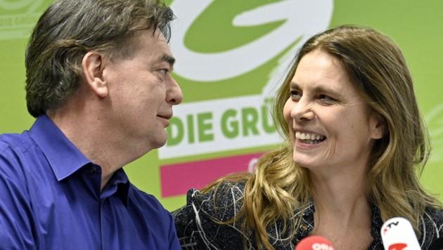 Sarah Wiener und Grünen-Bundessprecher Werner Kogler (Bild: APA/Hans Punz)