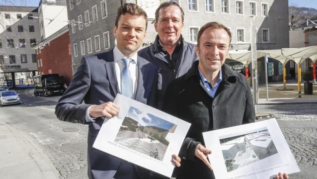Lukas Rößlhuber (Neos), Johann Padutsch (Bürgerliste) und Bernhard Auinger (SPÖ) machen das Neutor dicht (v. l.). (Bild: Tschepp Markus)