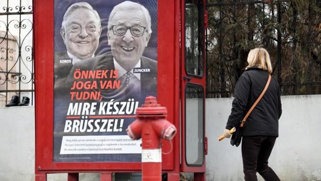 """""""Auch Sie haben ein Recht zu wissen, was Brüssel vorhat"""", steht auf dem Plakat. (Bild: APA/AFP/ATTILA KISBENEDEK)"""