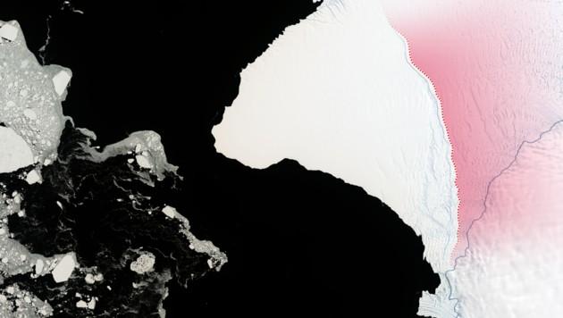 Der Teil des Brunt-Schelfeises links der rotgepunkteten Linie dürfte in naher Zukunft abbrechen. (Bild: NASA, krone.at-Grafik)