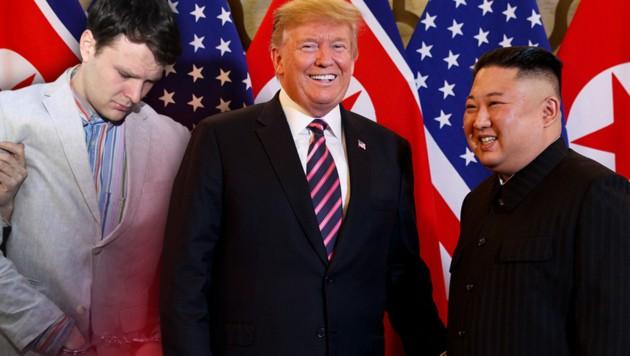 Otto Warmbier (li.) war laut einem US-Gericht in nordkoreanischer Haft gefoltert worden - laut Trump habe Kim davon aber nichts gewusst. (Bild: AP, krone.at-Grafik)