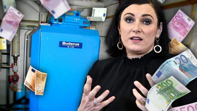 """""""Viele der rund 600.000 Ölheizungen in Österreich sind am Ende ihrer Lebensdauer angekommen und müssen ersetzt werden"""": Umweltministerin Elisabeth Köstinger (Bild: APA/HANS PUNZ, Wikipedia, stock.adobe.com, krone.at-Grafik)"""