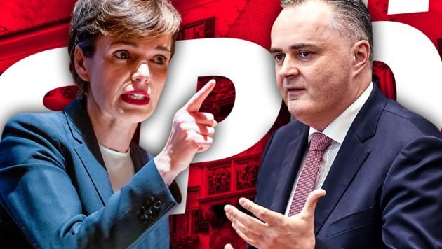 SPÖ-Bundesparteichefin Pamela Rendi-Wagner und der burgenländische Landeshauptmann Hans Peter Doskozil (SPÖ) können politisch nicht miteinander. (Bild: APA/EXPA/stock.adobe.com, krone.at-Grafik)