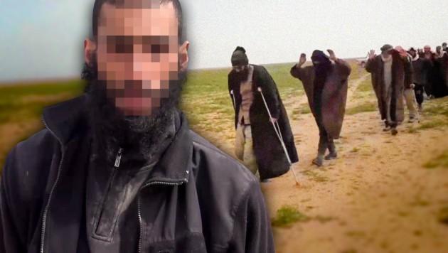 Azad G. wurde als IS-Angehöriger von kurdischen Soldaten in Syrien festgenommen. (Bild: youtube.com, krone.at-Grafik)