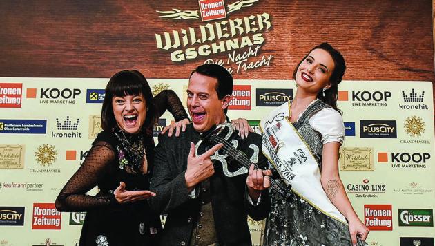 Marlen Billii, Gregor Glanz und Miss Austria Izabella Ion (Bild: Markus Wenzel)