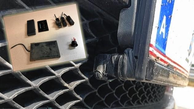 Der Kärntner hatte in seinem Auto einen Laserblocker ähnlich diesem eingebaut. (Bild: Polizei/Krone Grafik)