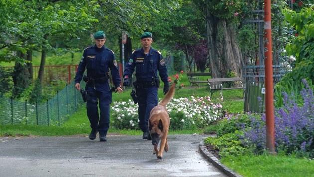 Die Polizei setzte Diensthunde ein (Bild: © Elmar Gubisch)