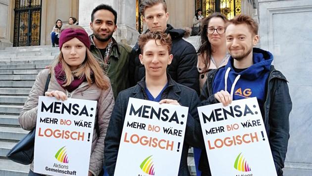 Sanfte Demonstration für mehr Bio in den Mensen unserer Unis (Bild: AktionsGemeinschaft)