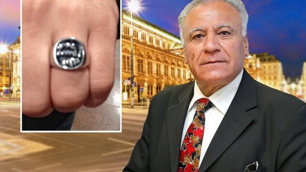 Terror-Experte und IBK-Präsident Amer Albayati identifizierte das bedrohliche Ring-Symbol. (Bild: zVg, Reinhard Holl, stock.adobe.com, krone.at-Grafik)