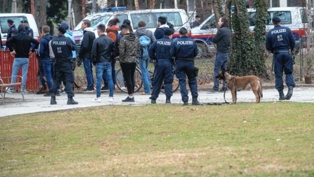 Polizeieinsatz in der Schutzzone Volksgarten (Bild: Elmar Gubisch)