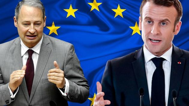 SPÖ-EU-Spitzenkandidat Andreas Schieder sieht Frankreichs Präsident Emmanuel Macron mitverantwortlich für die aktuelle Krise Europas. (Bild: APA/AFP/POOL/Christophe Ena, APA/HERBERT PFARRHOFER, stock.adobe.com, krone.at-Grafik)