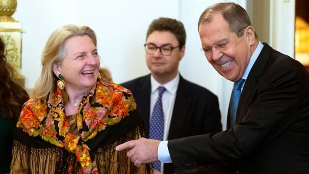 Die Außenministerin und ihr russischer Amtskollege Sergej Lawrow präsentierten sich in bester Stimmung.