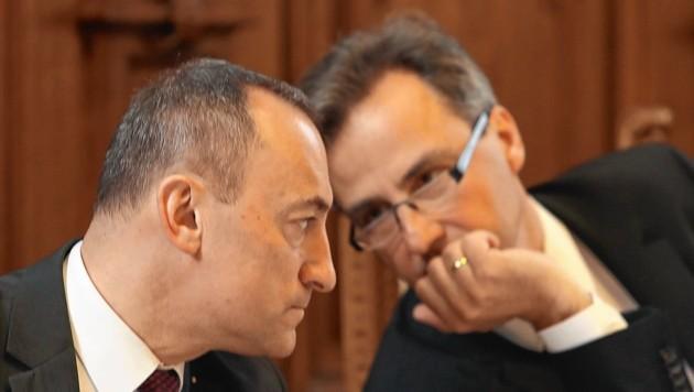 VP-Bürgermeister Siegfried Nagl und sein blauer Vize Mario Eustacchio sind sich einig. (Bild: Juergen Radspieler)