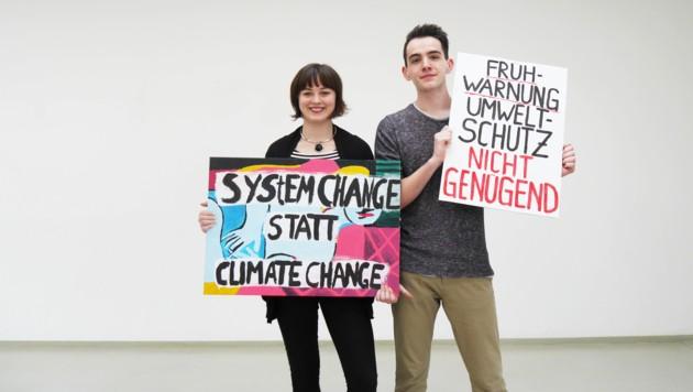 Schüler wie Leona Rußmann und Rene Raffetseder (beide Steyr) streiken heute für eine ehrliche Klimapolitik. (Bild: privat)
