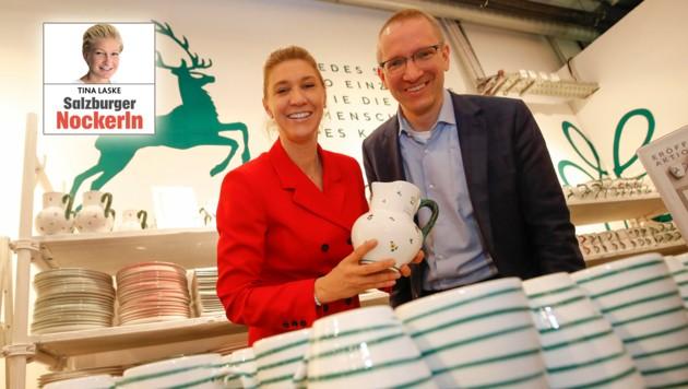 Outlet- Centermanager Florian Went begrüßte Elisabeth Eder von der Eigentümerfamilie (Bild: Markus Tschepp)