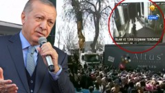 Bei einer Wahlkampfveranstaltung lässt der türkische Präsident Recep Tayyip Erdogan das Mordvideo von Christchurch in voller Länge zeigen. (Bild: AFP, twitter.com, krone.at-Grafik)