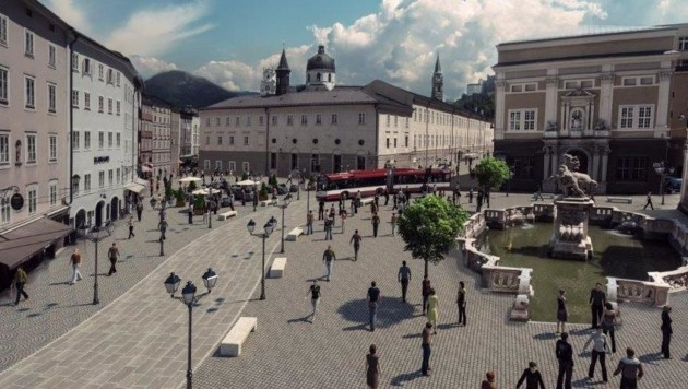 So soll der verkehrsberuhigte Herbert-von-Karajan-Platz mit der Pferdeschwemme (rechts) aussehen. (Bild: ITB_-AG)