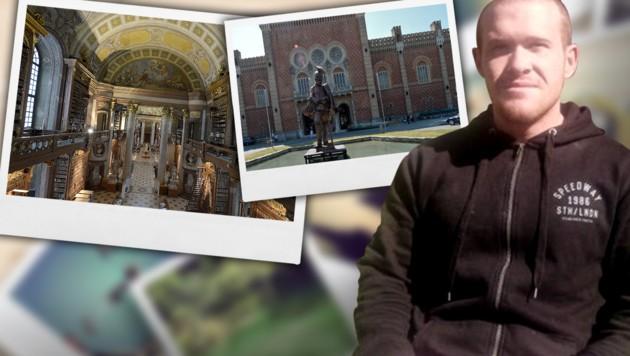 Brenton Tarrant könnte in Wien die Nationalbibliothek (li.) und das Heeresgeschichtliche Museum (re.) besucht haben. (Bild: APA/ROLAND SCHLAGER, APA/HERBERT NEUBAUER, facebook.com, krone.at-Grafik)