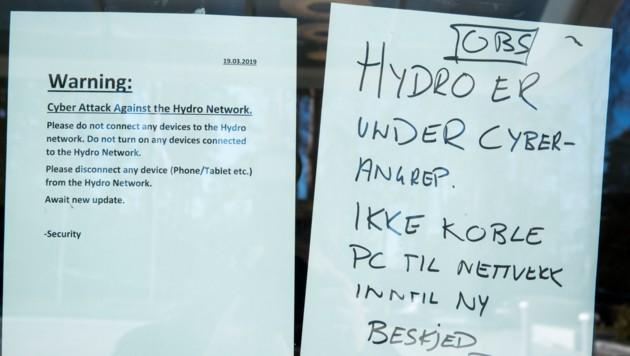 Mitarbeiter von Norsk Hydro wurden dazu aufgerufen, sich nicht in das Unternehmensnetzwerk einzuloggen. (Bild: AFP)