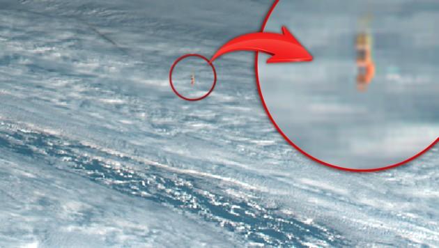 Satellitenfoto des über der Beringsee explodierten Meteoriten (Bild: Simon Proud/University of Oxford, krone.at-Grafik)