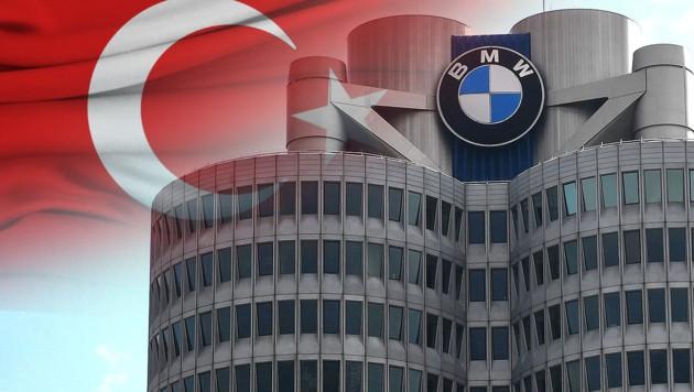 Beim deutschen Automobilhersteller BMW soll in einer Abteilung ein Türkisch-Verbot für Mitarbeiter gelten. (Bild: AFP, krone.at-Grafik, stock.adobe.com)