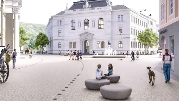 Visualisierung des zukünftigen Kajetanerplatzes in der Salzburger Altstadt (Bild: Stadt Salzburg)