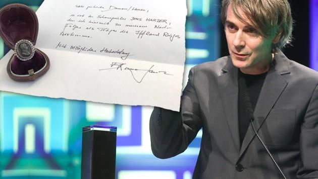 Die Wahl des verstorbenen Bruno Ganz für das Weitertragen des Iffland-Rings (siehe Schriftstück oben) fiel auf den deutschen Schauspieler Jens Harzer. (Bild: APA/DPA/FRANK RUMPENHORST, APA/BUNDESKANZLERAMT , krone.at-Grafik)