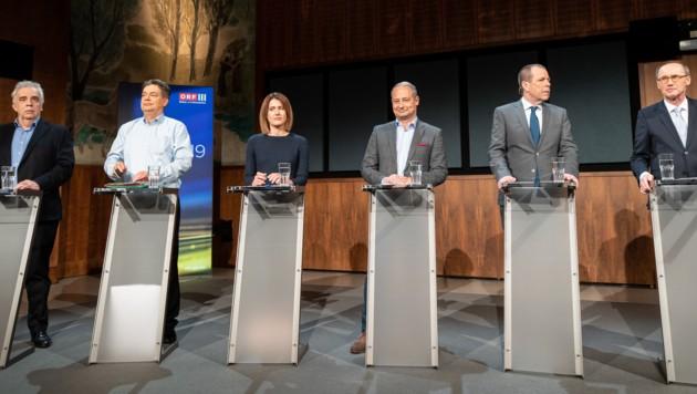 EU-Spitzenkandidaten (v.l.): Johannes Voggenhuber (Jetzt), Werner Kogler (Grüne), Claudia Gamon (NEOS), Andreas Schieder (SPÖ), Harald Vilimsky (FPÖ) und Othmar Karas (ÖVP) (Bild: APA/GEORG HOCHMUTH)