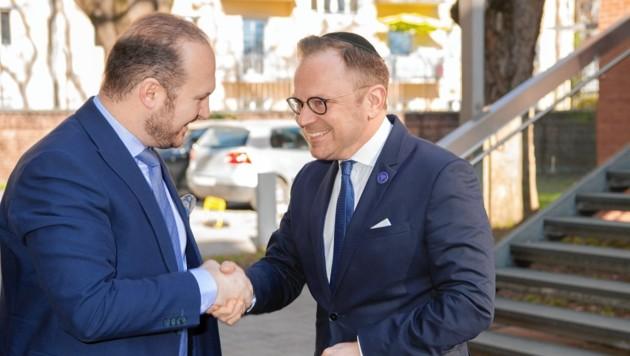 IGGÖ-Präsident Ümit Vural (links) trifft auf das Oberhaupt der Jüdischen Glaubensgemeinde Graz Elie Rosen (rechts). (Bild: Foto Fischer)