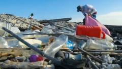 Sogar die Galapagos-Inseln werden von der Plastikplage in Mitleidenschaft gezogen. (Bild: AFP, krone.at-Grafik)