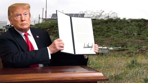 Mit dieser Proklamation erkennt US-Präsident Donald Trump Israels Souveränität über die Golanhöhen an. (Bild: AFP, AP, krone.at-Grafik)