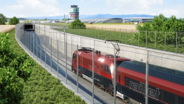 Kurz vor dem Flughafen Graz beginnt die neue Unterflurtrasse, bei Zettling geht es zurück ans Tageslicht. (Bild: ÖBB/3D-Schmiede)