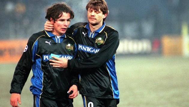 Wallner (li.) mit 16 in der Champions League mit Sturm Graz (re. Reinmayr) (Bild: Guenter Floeck)