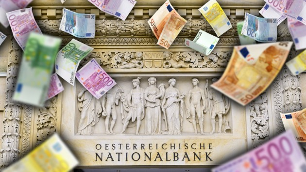 1300 Nationalbank-Pensionisten nach alter Rechtslage gibt es derzeit. Sie erhalten pro Jahr zusammen rund 100 Millionen Euro. (Bild: APA/HANS PUNZ, stock.adobe.com, krone.at-Grafik)