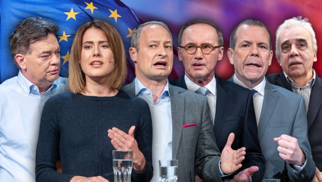 Die EU-Spitzenkandidaten: Werner Kogler (Grüne), Claudia Gamon (NEOS), Andreas Schieder (SPÖ), Othmar Karas (ÖVP), Harald Vilimsky (FPÖ) und Johannes Voggenhuber (EUROPA Jetzt) (Bild: APA/Hans Punz, APA/Georg Hochmuth, stock.adobe.com, krone.at-Grafik)