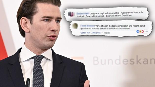 Rechte User attackieren Kurz (Bild: APA, facebook.com/sebastiankurz.at, krone.at-Grafik)