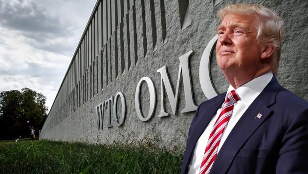 """US-Präsident Donald Trump beruft sich bei seinen Strafzöllen auf Autoimporte auf jene """"nationale Sicherheit"""", die nun von der WTO als Grund angeführt wird. (Bild: APA/AFP/Fabrice COFFRINI, AP, krone.at-Grafik)"""