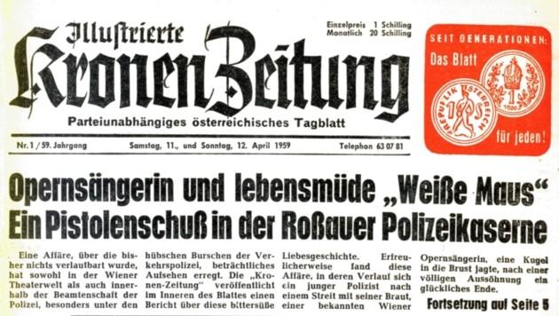 """Die erste Ausgabe der am 11. April 1959 erschienenen """"Neuen Kronen Zeitung"""" (Bild: Kronen Zeitung)"""