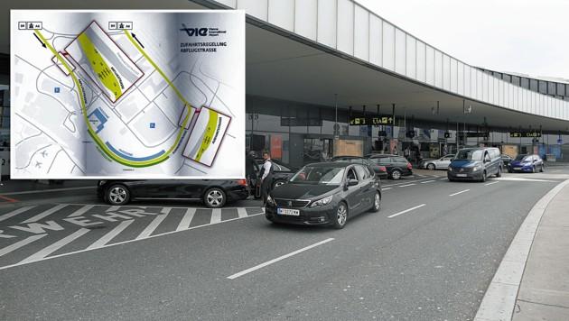 Die Zufahrt zu den Flughafenterminals 1, 1A und 3 wird neu organisiert. (Bild: Gerhard Bartel, VIA, krone.at-Grafik)