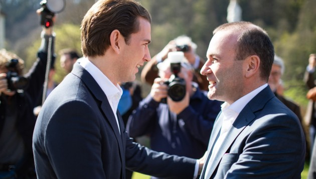 Bundeskanzler Sebastian Kurz unterstützt EVP-Spitzenkandidat Manfred Weber, der der nächste EU-Kommissionspräsident werden möchte. (Bild: APA/ÖVP/JAKOB GLASER)