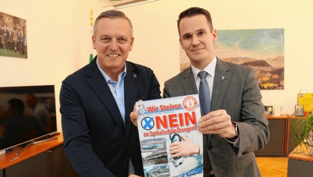 Die steirische FP-Spitze Mario Kunasek und Stefan Hermann (Bild: Christian Jauschowetz)