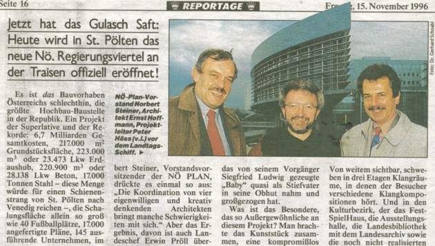 """Die """"Krone"""" berichtete von Anfang an über den geplanten Bau des riesigen Verwaltungszentrums. (Bild: Kronen Zeitung)"""