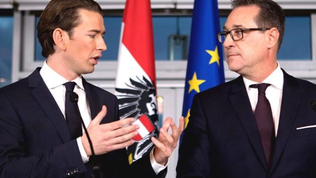 ÖVP-Bundeskanzler Sebastian Kurz und FPÖ-Vizekanzler Heinz-Christian Strache (Bild: AFP)
