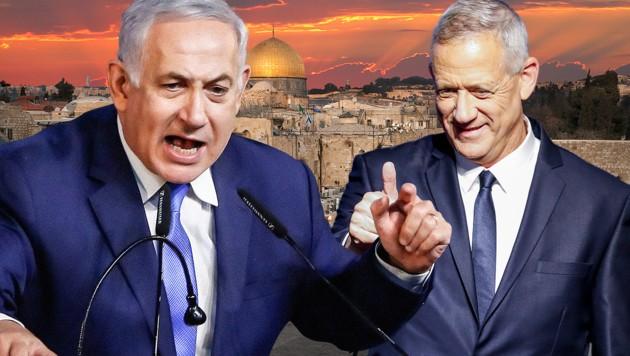 Benjamin Netanyahu (li.) und Benny Gantz konnten sich auf eine Koalition einigen. (Bild: AFP, stock.adobe.com, krone.at-Grafik)