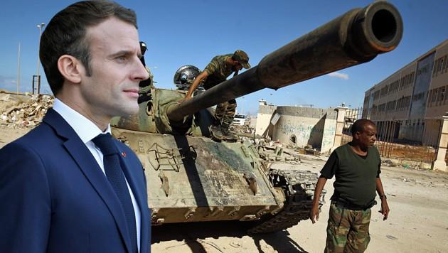 Die Regierung von Präsident Emmanuel Macron verteidigt französische Rohstoffinteressen in Libyen und soll dabei laut Rom auch bewaffnete Milizen unterstützen. (Bild: APA/AFP/Abdullah DOMA, APA/AFP/BERTRAND GUAY, krone.at-Grafik)