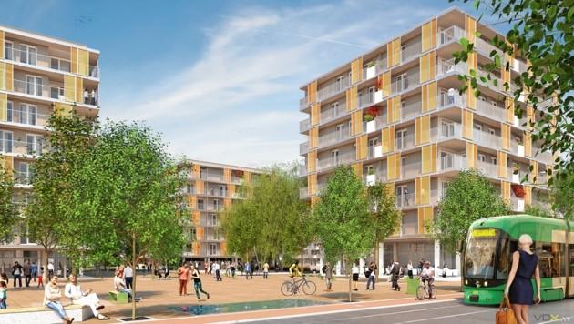 Eine Visualisierung des neuen Stadtteils. (Bild: vdx.at)