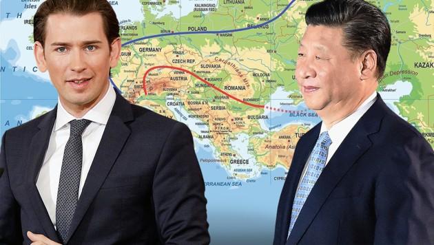 Bundeskanzler Sebastian Kurz reist zum großen Seidenstraßen-Gipfel nach Peking, wo er auch auf Chinas Präsident Xi Jinping treffen wird. (Bild: geoatlas.com, APA/BKA/Andy Wenzel, AFP, krone.at-Grafik)