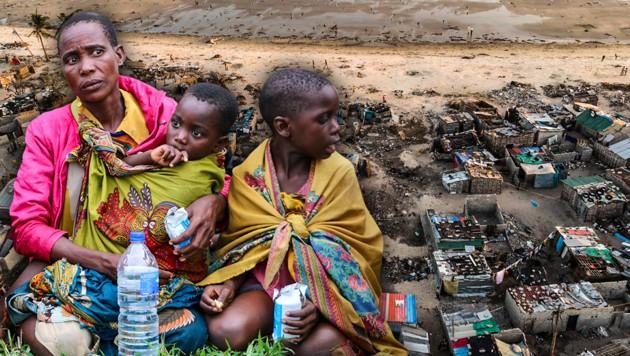 In Mosambik droht eine humanitäre Katastrophe (Bild: AFP, krone.at-Grafik)
